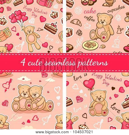 cute teddy patterns set