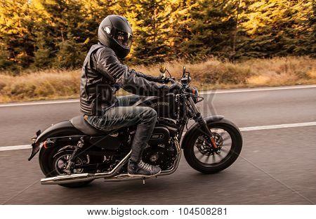 ROUSINOV - SEPTEMBER 29: Harley-Davidson Motorcycle Sportster Iron 883, drives through the forests during sunrise. September 29, 2015 in Rousinov, Czech republic.
