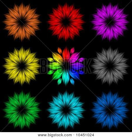 Set Of Abstract Rainbow Flowers On Black Background
