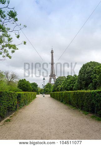 Eiffel Tower At Champ De Mars Park In Paris