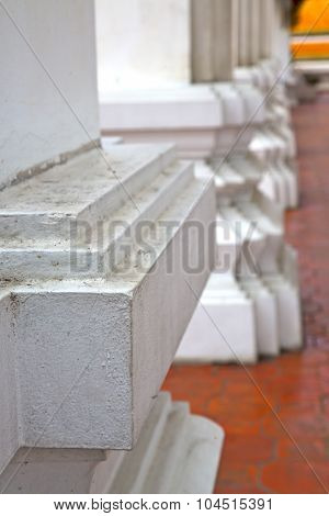 Dirty Column     Temple   In   Bangkok  Thailand Incision Of The Temple
