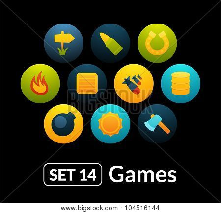 Flat icons vector set 14 - game collection