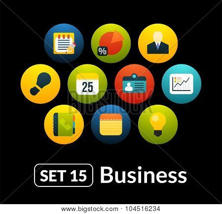 Flat icons vector set 15 - businnes collection