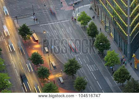 View on Potsdam Square and street from above, important public square and traffic intersection in the centre of Berlin poster