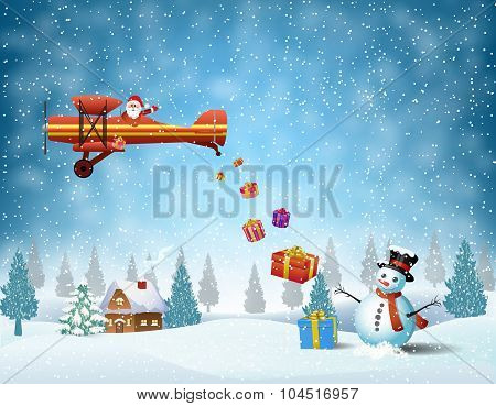 light plane with Santa claus