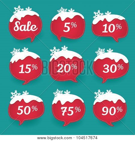 Winter sale labels in form of speech snow bubbles