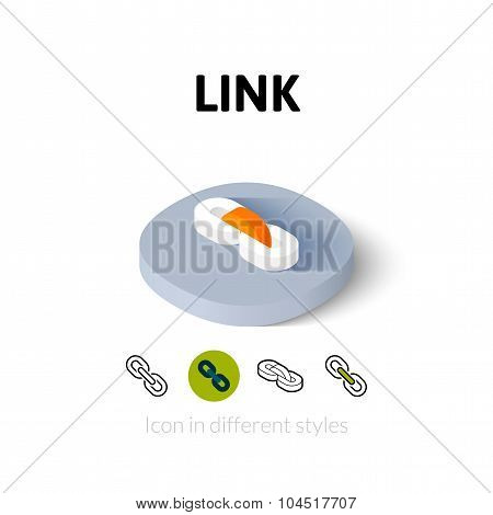 Link icon, vector symbol in flat, outline and isometric style poster