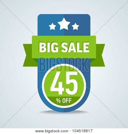 Big sale of 45 percent of the label with a green ribbon. Vector illustration.