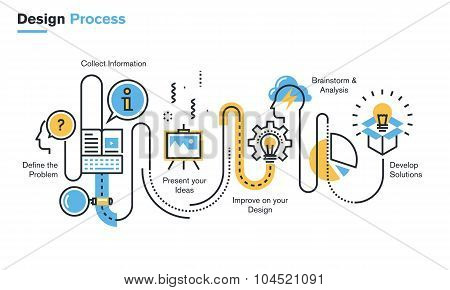 Flat line illustration of design process