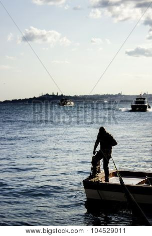 The Fisher in Istanbul Ortakoy on the boat