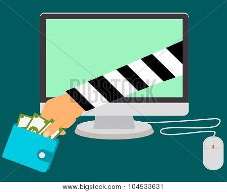 Stealing Money Online. Internet scammers. Vector illustration