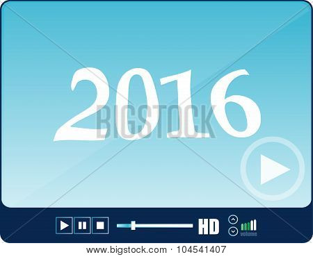 Media Player Interface, Web Player Isolated On White With A 2016 Sign, Holiday Icon