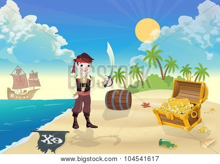 Young  pirate  and treasure Island