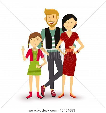 One Child Happy Family People Flat Illustration