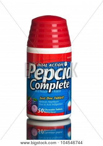 MIAMI, USA - February 9, 2015: Bottle of Pepcid Complete Acid Reducer + Antacid Berry Blend Chewable