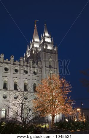 the salt lake city utah lds (mormon) temple taken after sunset with christmas lights poster