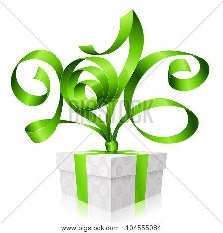 Vector green ribbon and gift box. Symbol of New Year 2016