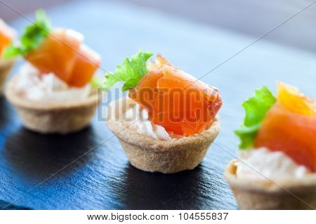 Mini Smoked Salmon Pastry Tartlets For Catering.