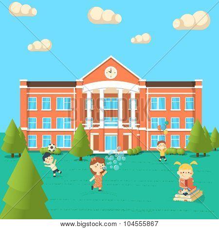Bright Flat Illustration Of School Building