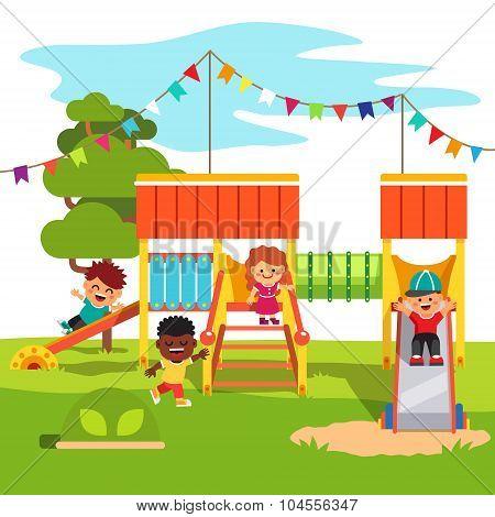Kindergarten park playground slide with kids