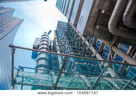 LONDON, UK - APRIL 22, 2015: Lloyds of London building against of sky. Business background