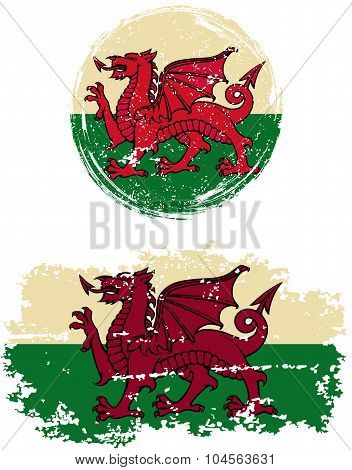 Welsh round and square grunge flags. Vector illustration. Grunge effect can be cleaned easily. poster