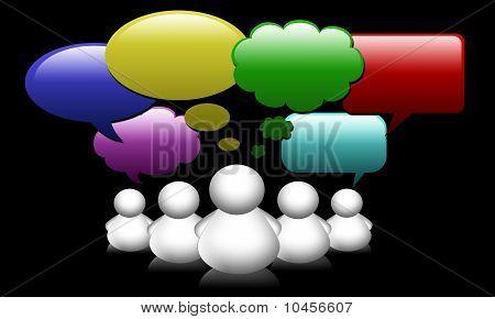 Social Network Media people group speech bubbles