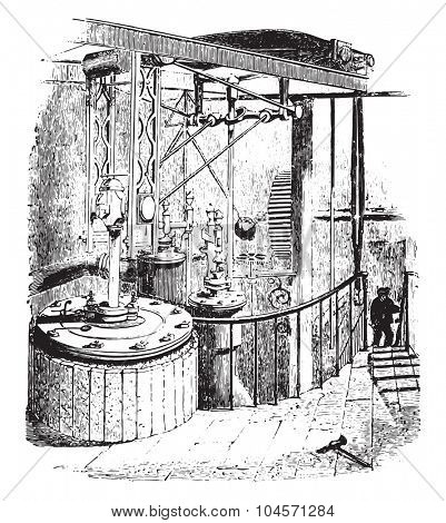 Double acting engine-city saw mills, vintage engraved illustration.