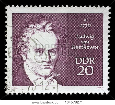GDR - CIRCA 1970: A stamp printed in GDR shows Ludwig van Beethoven, composer, circa 1970