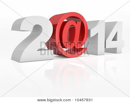 Text 2@14 2014 Isolated On White Background