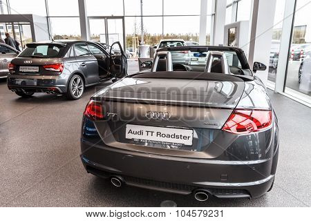 Baden-Baden, Germany - October 10, 2015: New models of the brand Audi in a dealer's showroom in Baden-Baden, Germany.  Audi TT Roadster