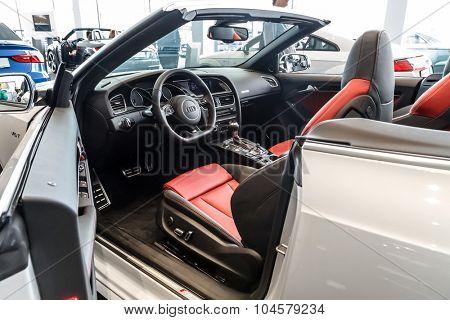 Baden-Baden, Germany - October 10, 2015: New models of the brand Audi in a dealer's showroom in Baden-Baden, Germany.  Interior Audi A5 Cabriolet