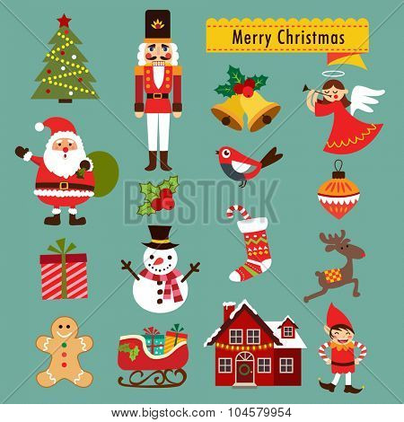 Christmas decoration icons, illustration and elements