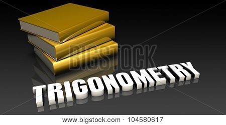 Trigonometry Subject with a Pile of Education Books