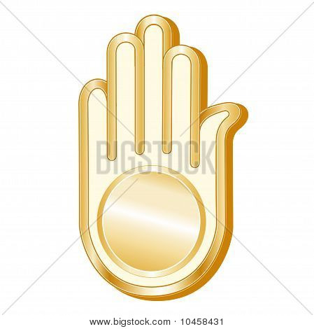 Golden Ahimsa symbol of the Jain faith on a white background. EPS8 compatible. poster
