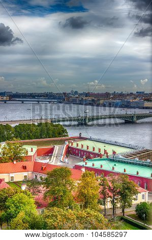 Top View  Neva River In St. Petersburg Trinity Foundry Bridge