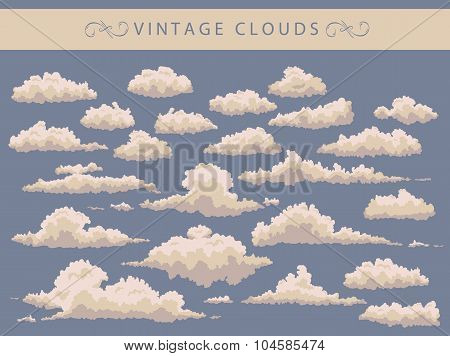 set of vintage clouds on a blue background