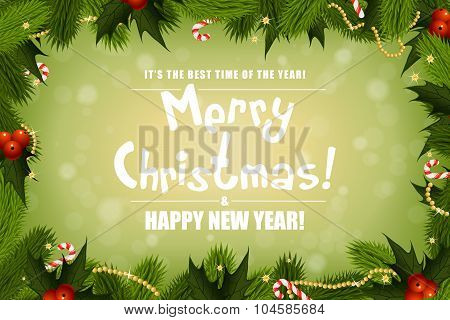 Christmas Background With Fir Twigs And Decorations