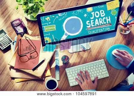 Job Search Qualification Resume Recruitment Hiring Application Concept