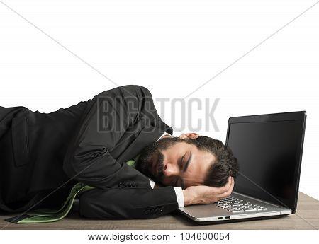 Workload businessman sleeping
