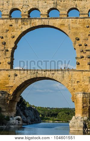 Pont du Gard famous roman aqueduct in southern France near Nimes. poster