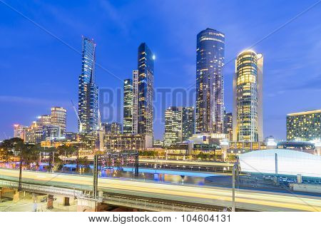 Modern buildings with light trail in Australia at twilight