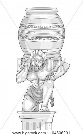 Illustration of a Marble Statue of a Man Carrying a Jar on His Shoulders