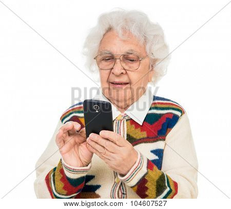 elderly woman using smartphone over white background