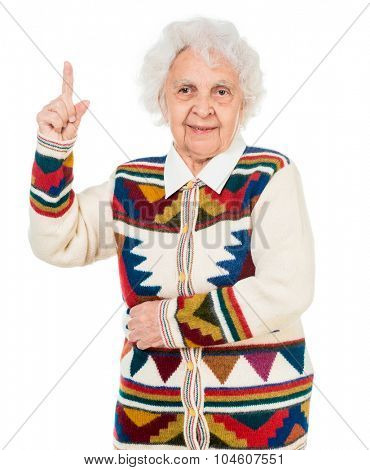 elderly woman pointing up isolated on white background
