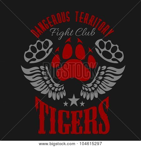 Fighting club emblem - tiger footprint and wings. Labels, badges, logos.