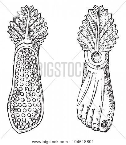 Hobnailed boot, vintage engraved illustration. Private life of Ancient-Antique family-1881.