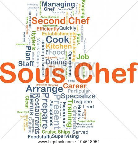 Background concept wordcloud illustration of sous chef