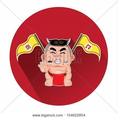 Modern flat icon of sherman for nine emperor gods festival