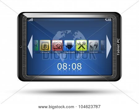 Tablet Pc With Icons. Vector